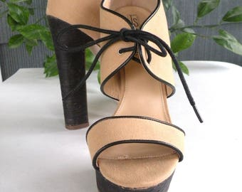 Mary Jane Style Grunge Chunky Platform Heel Womens size 7 1/2 M Platform Sandals Tan Brown Heels 6 Inch Heel Brown Fall Shoe Open Toe Shoe