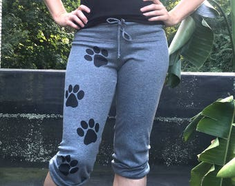 Bow Wow Cropped Pants, Gift for a Dog Lover, Dog Walker, Paw Print Pants, S,M,L,XL,2XL
