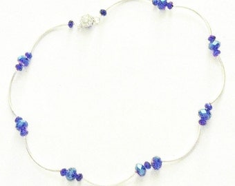 Handmade Necklace Blue Swarovski Beads Sterling Plate Bride Wedding Jewellery Bridal Party Jewelry Gift