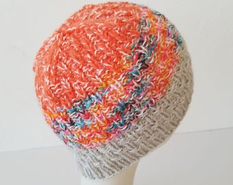 Hand Knit hat in Creamsicle with Rainbow Jimmies – Adult One Size