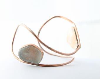 Sea Glass Cuff, Sea Glass Bangle, Cuff , Seaglass Bangle, Beach Glass Cuff, Sea Glass Bracelet, Beach Glass Bracelet, Copper Cuff