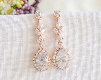 Rose Gold Bridal Earrings, Crystal Wedding Earrings, Leaf Teardrop Dangle Drop Earrings, Marquise Earrings, Wedding Bridal Jewelry, IRIS