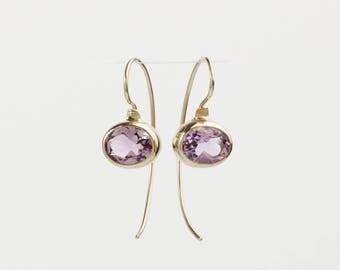Amethyst earrings, gold earrings, 14k gold drop earrings, February birthstone jewelry, light purple birthstone gifts