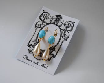Faux Turquoise and Pearl Earrings, Regency Jewelry, Jane Austen Costume, Historical Jewelry, Reproduction Jewelry, 19th Century Earrings