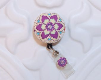 Retractable Badge Holder Id Badge Holder Badge Reel Retractable Lanyard Name Badge Holder Swivel Badge Clip Nurse Id Holder Purple Floral