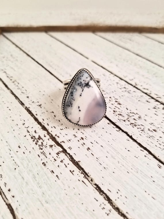 Cabin Fever Cabin Cutout Sterling Dendrite Opal Ring, Handmade White Opal Statement Ring, size 8.25