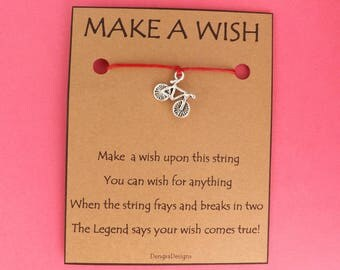 Bike Bicycle Biker Wish String Friendship Bracelet Cord Band BFF Stocking Filler Simple Gift Birthday Fits in Greeting Card