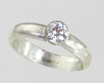 14 KW Gold, Moissonite Ring, Sapphire, Morganite, Diamond, Choose 14 KYG, 14 K Rose G, Handmade Band, Alternative Commitment, Half Carat