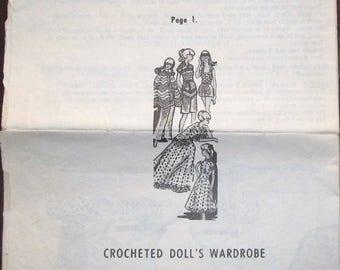 "Vintage 1970s Crochet Barbie Doll Clothes Design Mail Order Pattern 7362 11.5"" Mod Wardrobe Cape Gown Tunic Top Hotpants Potholder Vest"