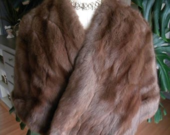 Pretty brown Russian squirrel cape / stole / wrap / wedding / real fur