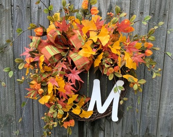 Fall wreath, fall wreath with Leaves, fall wreath grapevine and Berries, fall wreath with Initial, large fall wreath, fall wreath Monogram
