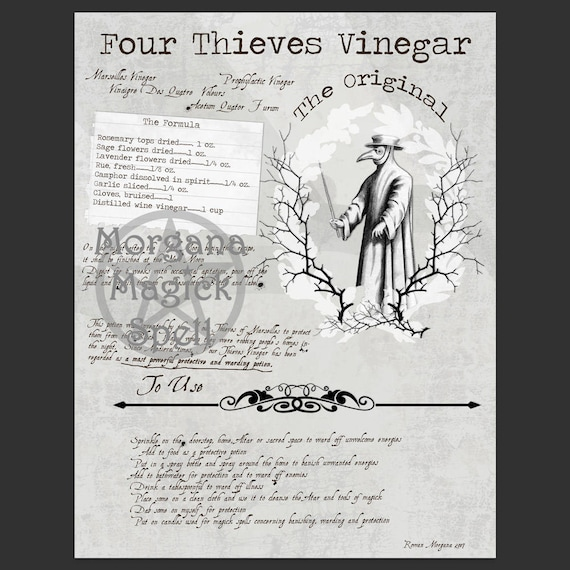 Four Thieves Vinegar & Label Sheet
