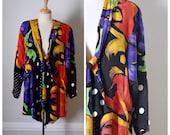 Vintage 80s Jacket / 80s Oversized Jacket / Boxy Scarf Jacket / Bold Print 80s Topper / 80s Blazer / Size Small