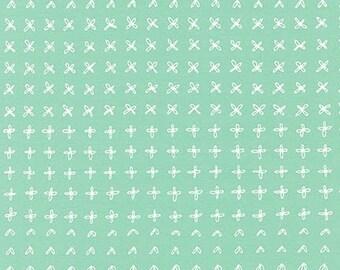 Blueberry Park Sprouting Row in Pond, Karen Lewis Textiles, Robert Kaufman Fabrics, 100% Cotton Fabric, AWI-15752-56 POND