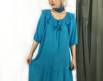 Vintage Turquoise Cotton Gauzy Flowy Boho Dress size Medium // Large // Extra Large