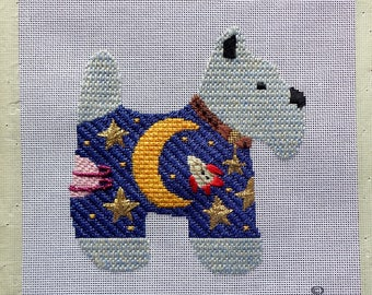 Needlepoint Picture | MOON DOGGIE | IGC | In Good Company | Completed | Needlepoint Canvas | Pillow | Picture | Quilt Block