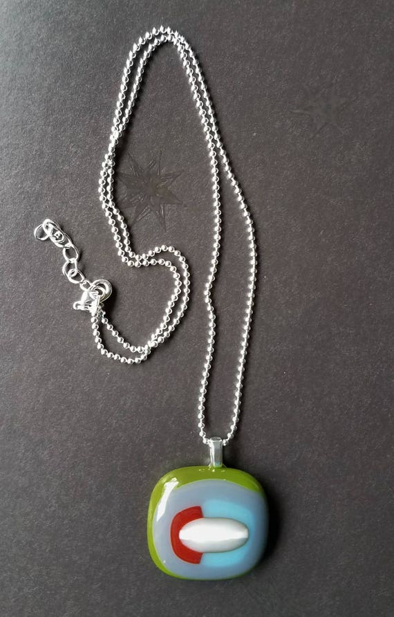 Multi-Color Glass Pendant with Silver Chain
