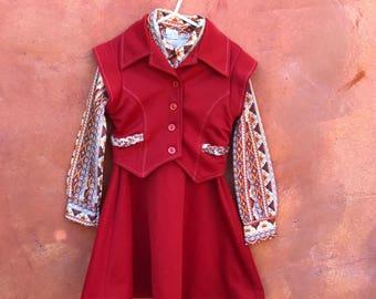 Vintage 1970s Girl's 2 Piece Vest Dress. Orange Gold Brown. Aztec print. Hippie girl. Size 6x 7 8