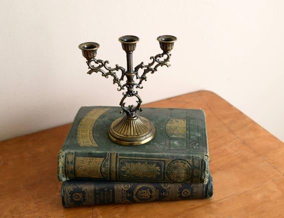 Vintage Gold Bronze Toned Miniature Candelabra - Edwardian, Gothic, Renaissance, Mid Century