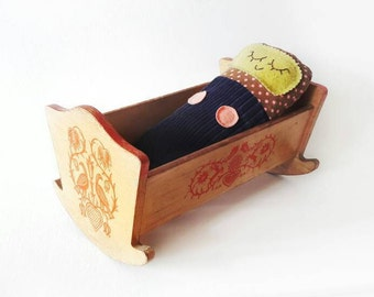 Mid Century Wooden Rocking Doll Bed with Folk Birds Pattern in Red