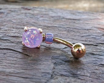 Light Purple Opal Rose Gold Belly Button Jewelry Ring Prong Set