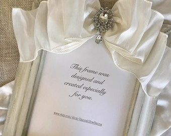 Picture Frame 8x10 White Bow Jewel Wedding Personalized Portrait Bride Diamond Anniversary Engagement Shower Unique Gift Custom Handcrafted