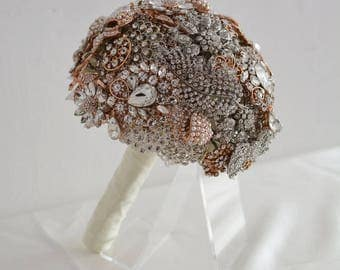 Rose Gold and Silver Full Brooch Bouquet - Sparkly and Stunning - Ready Made