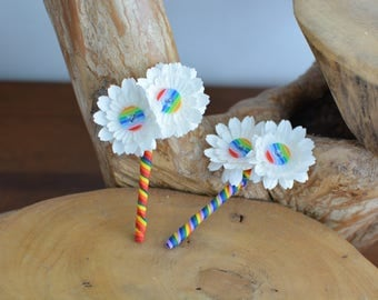 Rainbow Button and Paper Flower Buttonhole Boutonniere