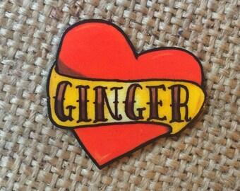 GINGER tattoo heart pin badge