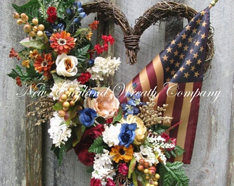Patriotic Wreath, Americana Wreath, 4th of July Wreath, Elegant Patriotic Heart, Military Wreath, Veteran's Day Wreath, Tea Stained Flag