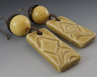 SALE *** Yellow Ceramic Pottery Dangle Earrings with Vintage Miriam Haskell Beads - (622)