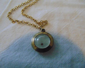 vintage mustard seed necklace pendant lucite gold