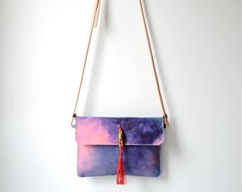 Valentines Day Gift For Her, Hand Painted Canvas Crossbody Bag, Convertible Crossbody Bag Clutch, Pink Purple Canvas Tablet Case, Wife Gift
