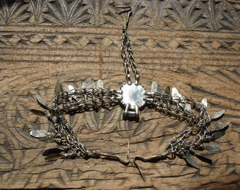 Indian Kuchi tarnished silver colour double chain head piece