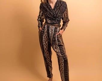 Vintage Tribal 2 Piece / Tribal Wrap Top / High-Waisted Pleated Pants / Boho Δ size: M/L