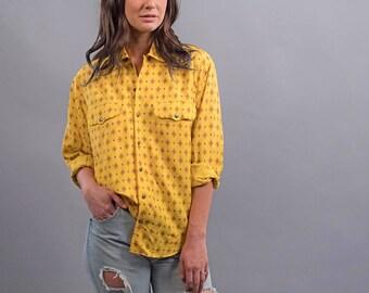 90s Western Top / Boho Blouse / Aztec Top / Southwestern Shirt Δ size: S/M