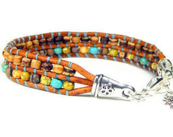 Leather Wrap Bracelet Desert Wood Seed Bead Bracelet Loom Bracelet Boho Bracelet Bohemian Jewelry