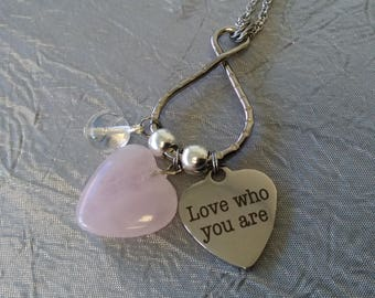 Love Who You Are Rose Quartz Heart Necklace