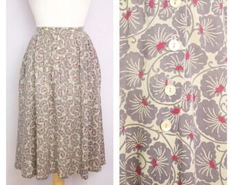 Vintage 1970's Lavender Floral Midi Skirt S/M