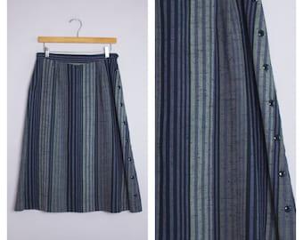 Vintage 1980's Purple + Gray Pinstripe Side Button A-Line Midi Skirt M/L