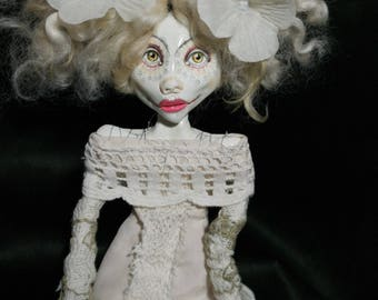 ooak art doll, white, creme, lace