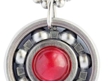 Red Malaysian Jade Roller Derby Skate Bearing Pendant Necklace