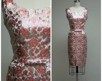 Vintage 1950s Dress • Forever Mine • Silver and Red Rose Print Jacquard 50s Cocktail Dress Size Small