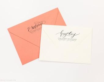 Custom Address Rubber Stamp - Custom Calligraphy