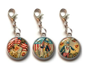 3 Clip On Charms, 4th Of July, Vintage, Patriotic, Americana,  Dangle Charm, Lobster Claw Clasp, Flag, Independence Day, Jewelry, No.4