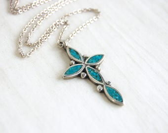 Turquoise Cross Necklace Vintage Southwestern Chip Turquoise Sterling Silver 16 Inch Necklace Large Blue Cross