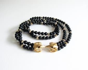 Vintage Kenneth J Lane Rams Head Necklace KJL Avon Collaboration Long Black & Gold Beaded Necklace
