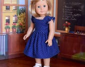 Vintage Style Navy Blue and White Polka Dot Princess Seam Dress for 18 inch American Girl Doll