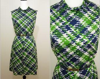 VINTAGE 1960s Retro Graphic Op Art Green Blue Roll Neck Mod Scooter Mini Dress UK 8 F 36 /Gogo / Belted / Mod Chic / Twiggy
