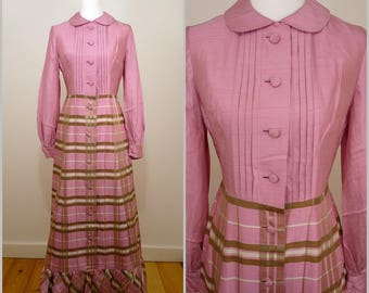 Elegant Chic VINTAGE 1960s  Dollybird Pink Green Check Button Front Silk Blend Maxi Dress UK 10 FR 38 / Quality cut / Designer